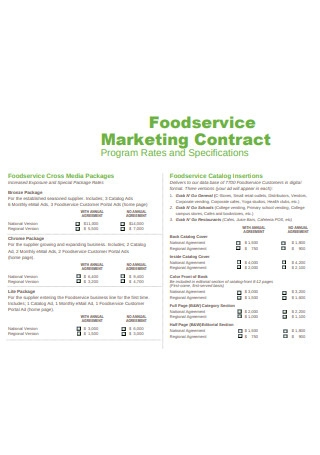 Food Service Marketing Contract