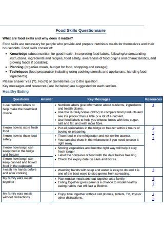 Food Skills Questionnaire Format