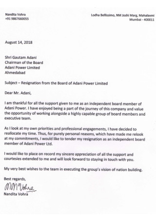 Formal Board Resignation Letter