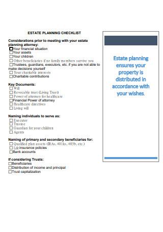 Formal Estate Planning Checklist in PDF