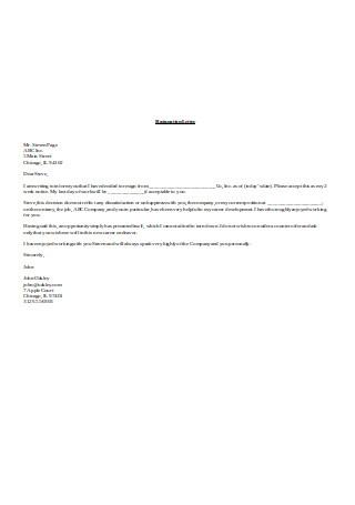 Formal Job Resignation Letter