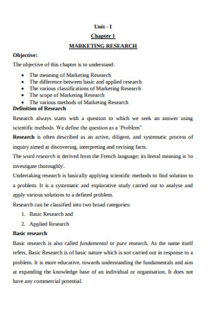 Formal Marketing Research