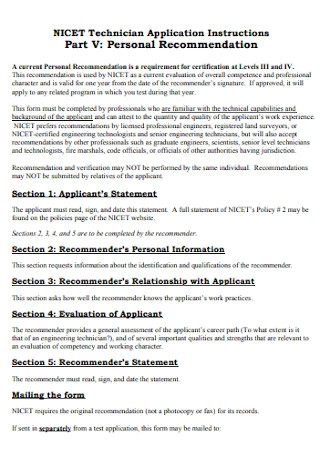Formal Personal Recommendation Letter
