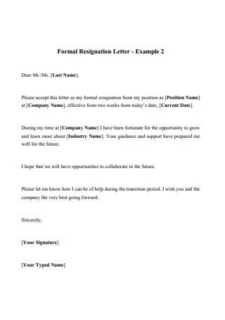Formal Resignation Format