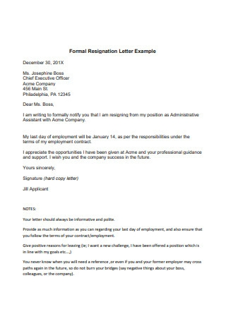 Formal Resignation Letter Example