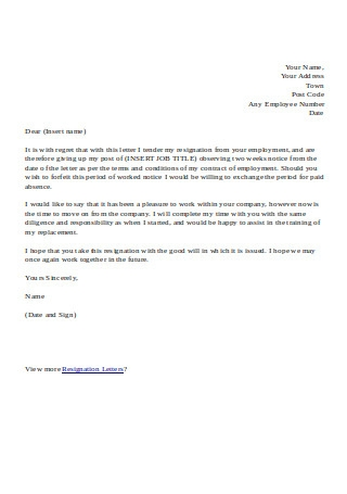 Formal Resignation Letter with 2 Weeks Notice