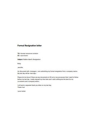 Formal Resignation letter1