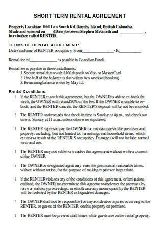 Formal Short Term Rental Agreement