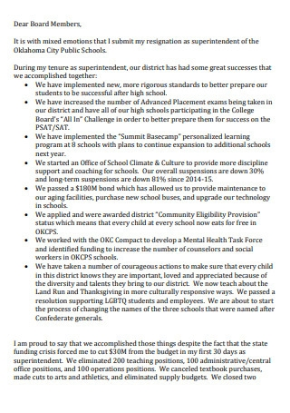 Formal Teacher Resignation Letter