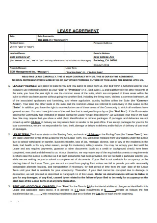 Format of Lease Agreement