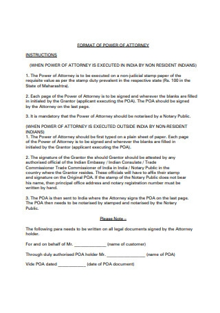 Format of Limited Power of Attorney
