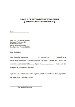 Format of Recommendation Letter
