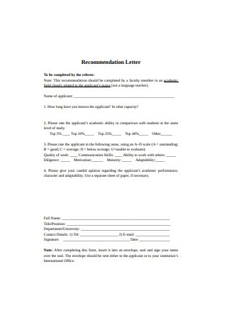 Format of Recommendation Letter1
