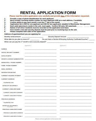 Format of Rental Application Form