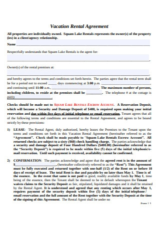Format of Vacation Rental Agreement