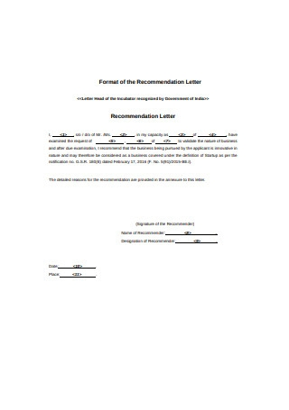 Format of the Recommendation Letter
