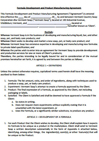 Formula Development and Product Manufacturing Agreement