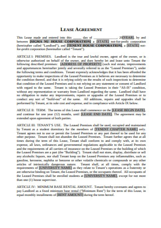 Fraternity House Lease Agreement
