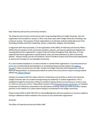 Fraternity Letter of Recommendation Format