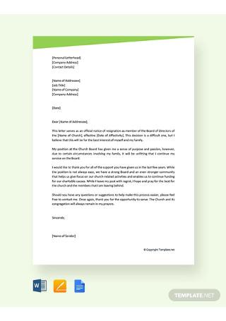 Free Church Board Resignation Letter