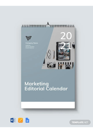 Free Marketing Editorial Desk Calendar Template