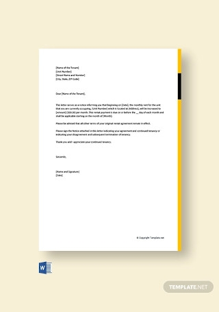 Free Rent Increase Letter From Landlord