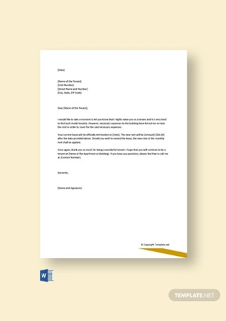 Free Rent Increase Letter To Tenants