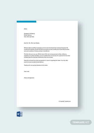 Free Rent Increase Letter