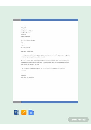 Free Retirement Resignation Letter Template