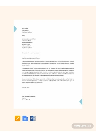 Free Student Scholarship Recommendation Letter