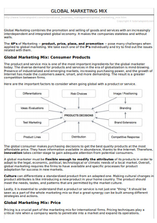 Global Marketing Mix