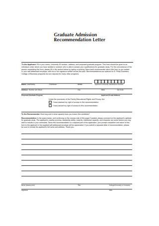 Graduate Admission Recommendation Letter
