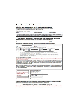 Graduate Health Professions Letter of Recommendation Form