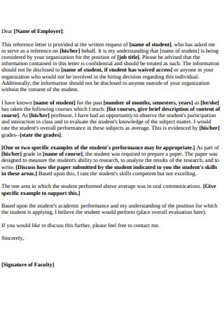 Graduate School Faculty Reference and Recommendation Letter