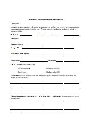Graduate School Letter of Recommendation Request Form