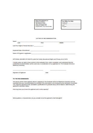 Graduate School Recommendation Letter Application