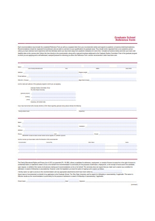 Graduate School Recommendation Letter Reference Form