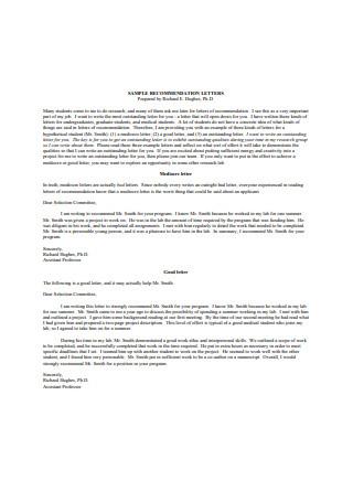 Graduate School Recommendation Letter fom Professor