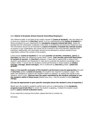 Graduate School Recommendation Letter from Mentor