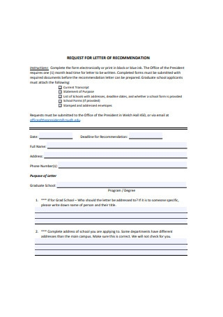 Graduate School Request for Letter of Recommendation Example