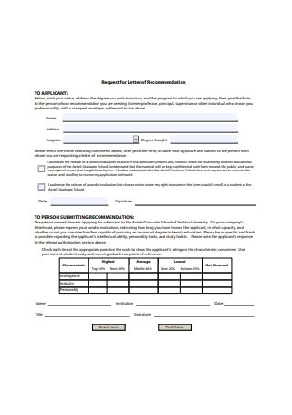 Graduate School Request for Letter of Recommendation