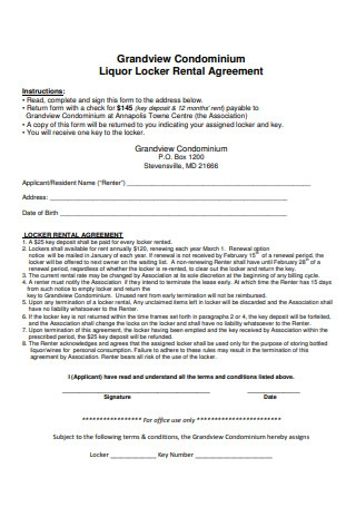 Grandview Condominium Liquor Locker Rental Agreement