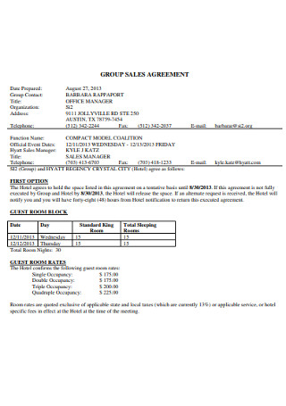 Group Sales Agreement