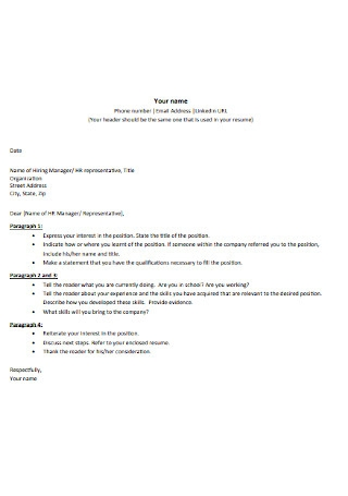 HR Manager Cover Letter Outline