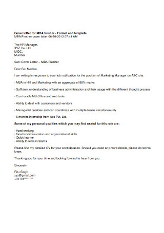 HR Manager Cover Letter Sample