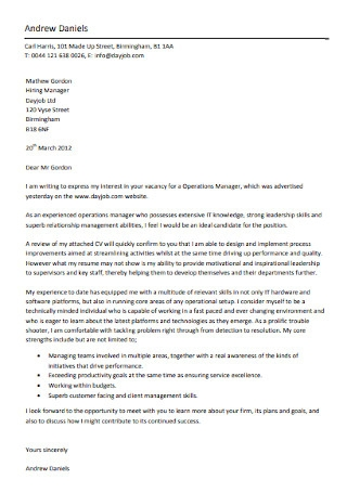 HR Operations Manager Cover Letter