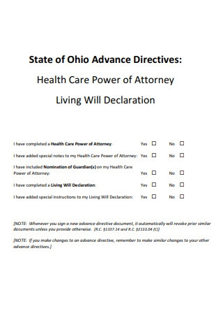 Health Care Power of Attorney Living Will Declaration