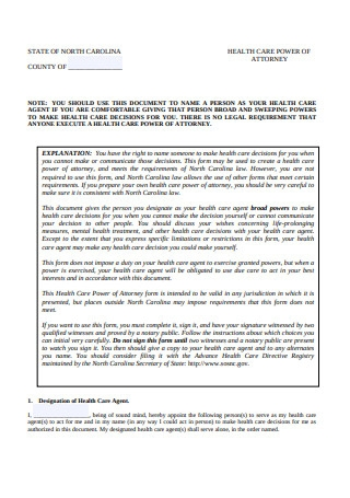 Health Care Power of Attorney1