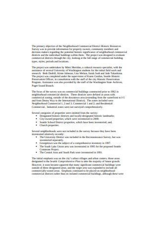 Historic Property Survey Sample