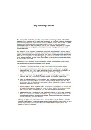 Hog Marketing Contract